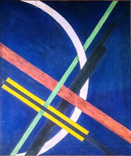 Moholy-Nagy László: Architektúra I., Konstrukció kék alapon, 1922. Fotó: Origo