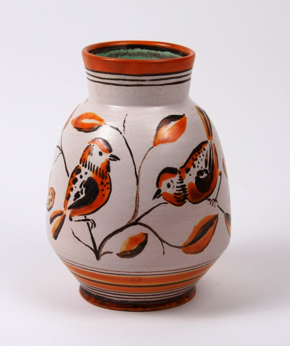 Gádor István: Madaras váza; 18 cm, 40-es évek