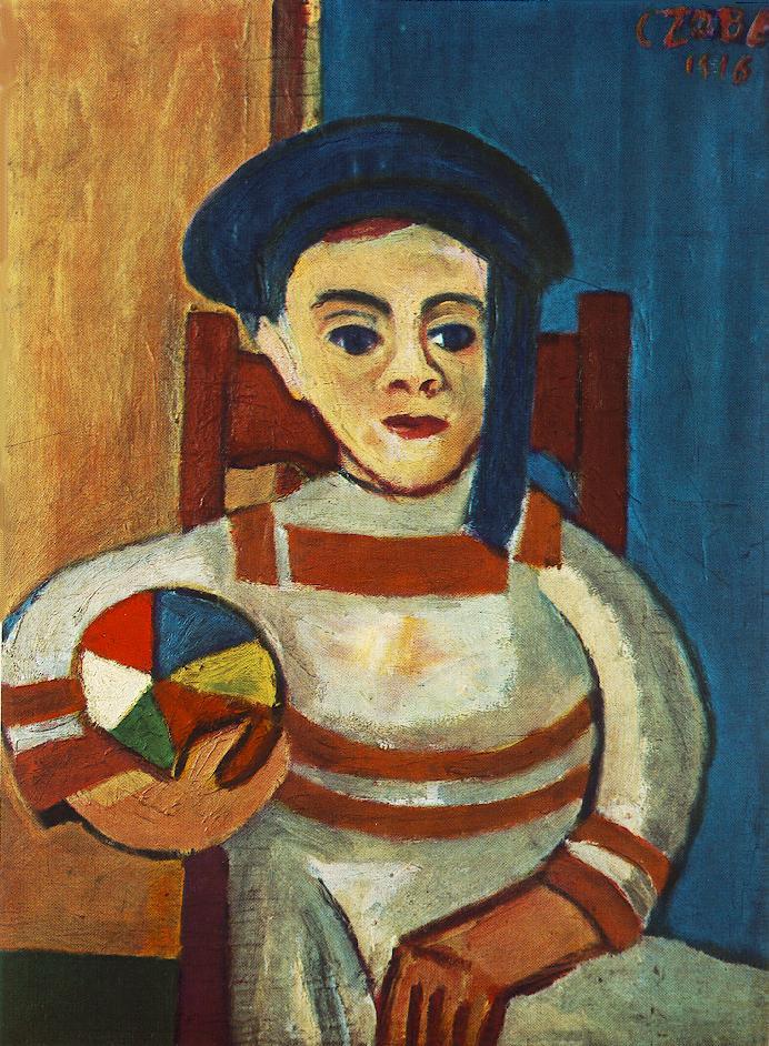 Czóbel Béla: Fiú labdával. 1916. Fotó: Kulturális Enciklopédia