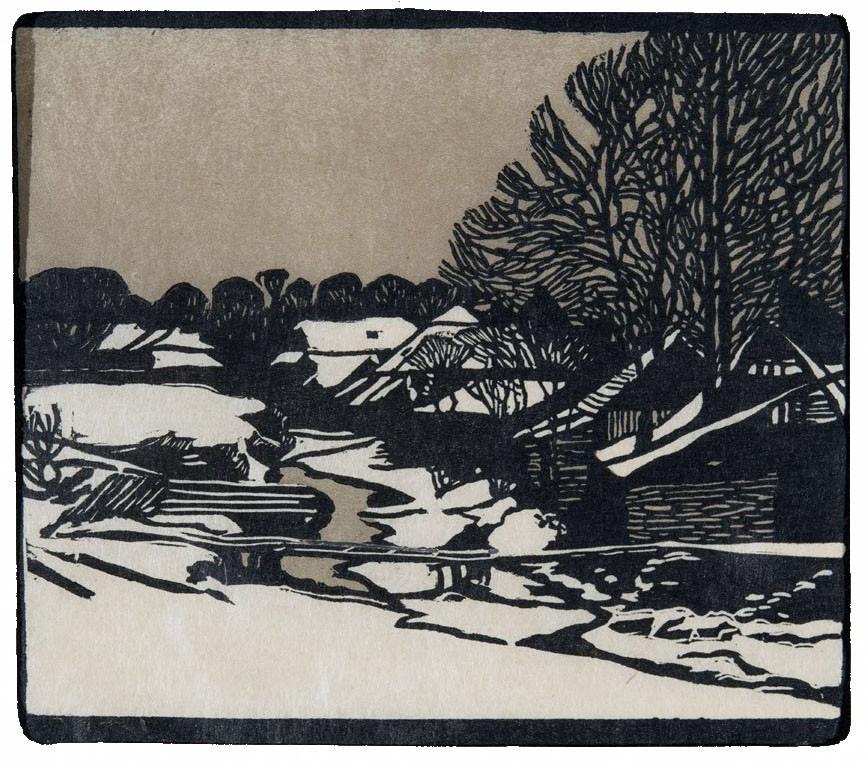 Olgyai Viktor: Havas falucska. Színes linóleummetszet, 1907