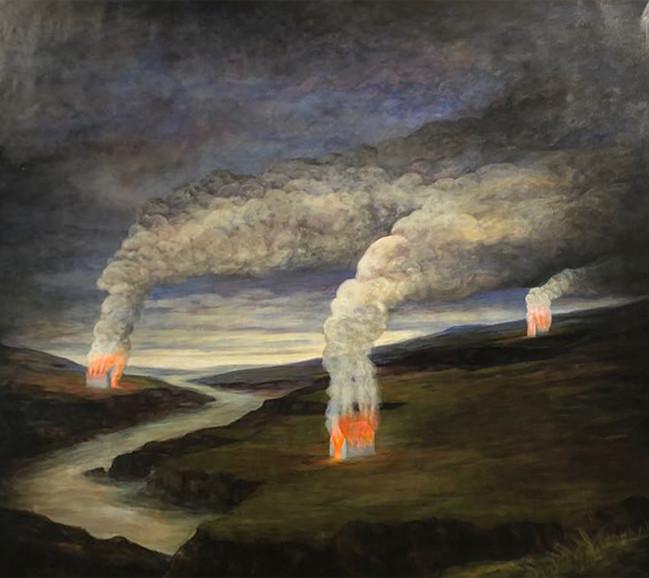 Szurcsik József: Három hajlék, 2019, 180 x 200 cm