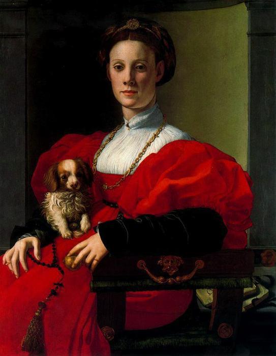 Agnolo Bronzino vagy Jacopo Pontormo: Hölgy kutyával (Vörös ruhás hölgy arcképe), 1533 körül. Olaj, fatábla, 90x70 cm. Städel Museum, Frankfurt am Main