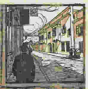 Carl Moll: Lap a Beethoven-házak mappából. Mödling, Hauptstrasse 79. 1818 nyara és 1819. Színes fametszet, 1907