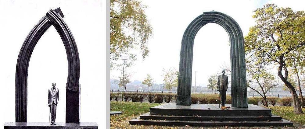 Varga Imre: Károlyi, terv, 1972. Bronz, fa, 80x40 cm, magántulajdon;  Károlyi, 1974-75. Bronz, 225 cm. Budapest, Kossuth tér; áthelyezve: Siófok, 2012.
