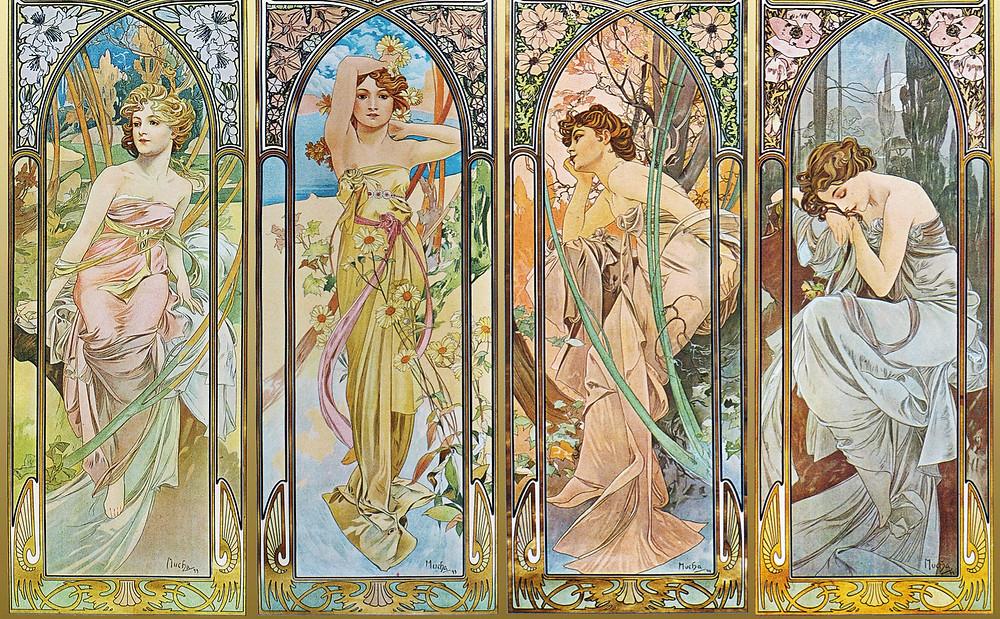 Alfons Mucha: Napszakok, 1899