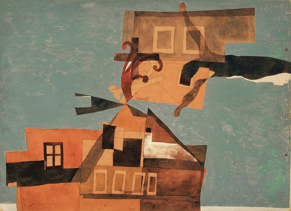 Vajda Lajos: Szentendrei házak feszülettel, 1937