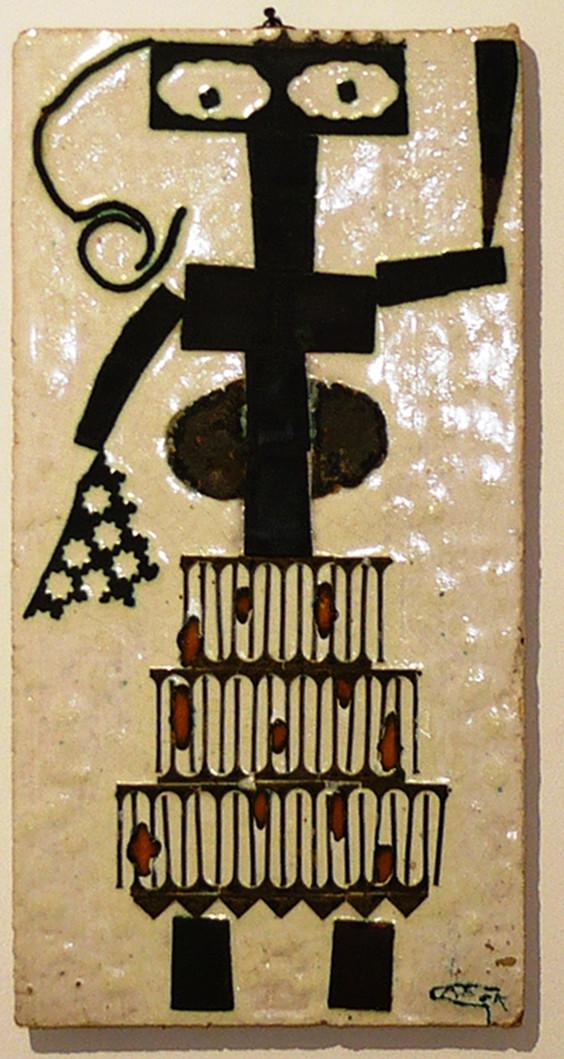 Gádor István: Fali plakett fém-és üveg berakásokkal; 36 x 19 cm, 60-as évek