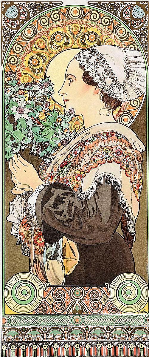 Alfons Mucha: Szirti bogáncs (Bretagne-i asszony), 1902