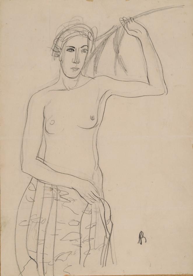 Bernáth Aurél: Leány kalásszal, 1930-as évek eleje. Grafit, papír. © Magyar Nemzeti Galéria