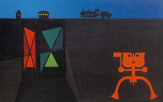 Korniss Dezső: Kővágóörsi emlék (Kompozíció vonattal), 1945. Magántulajdon