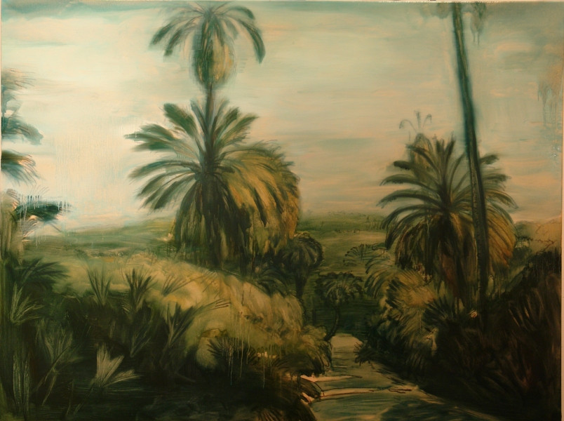 Szotyory László: Út a dzsungelbe II. (A botanikus kert II.), 2010. Olaj, vászon, 95x125 cm