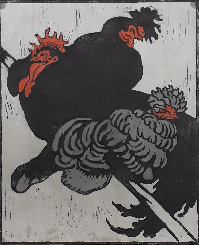 Herzig Jenő: Kakas tyúkokkal. Színes fametszet, 1904 körül