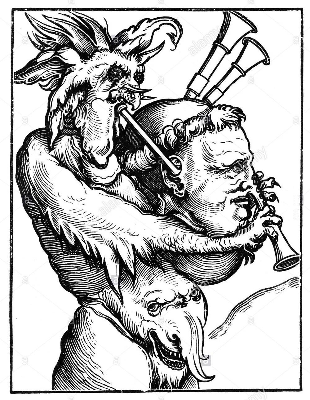 Erhard Schön fametszete, 1521. Alami Schock fotó