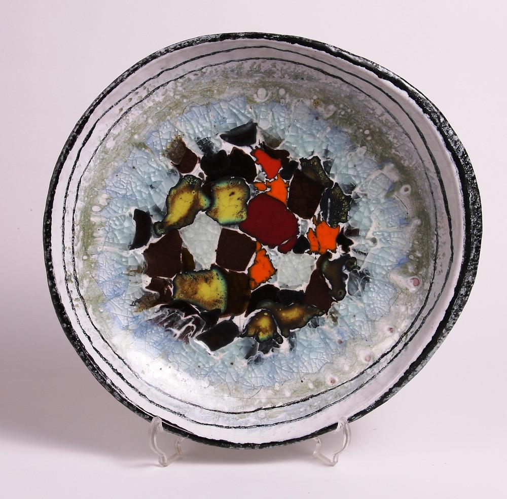 Gádor István: Tál üveg berakással; 29 cm, 60-as évek
