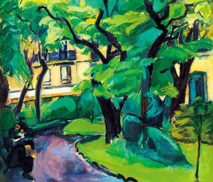 Dénes Valéria: Párizsi parkban (A Cluny park), 1910-11 körül