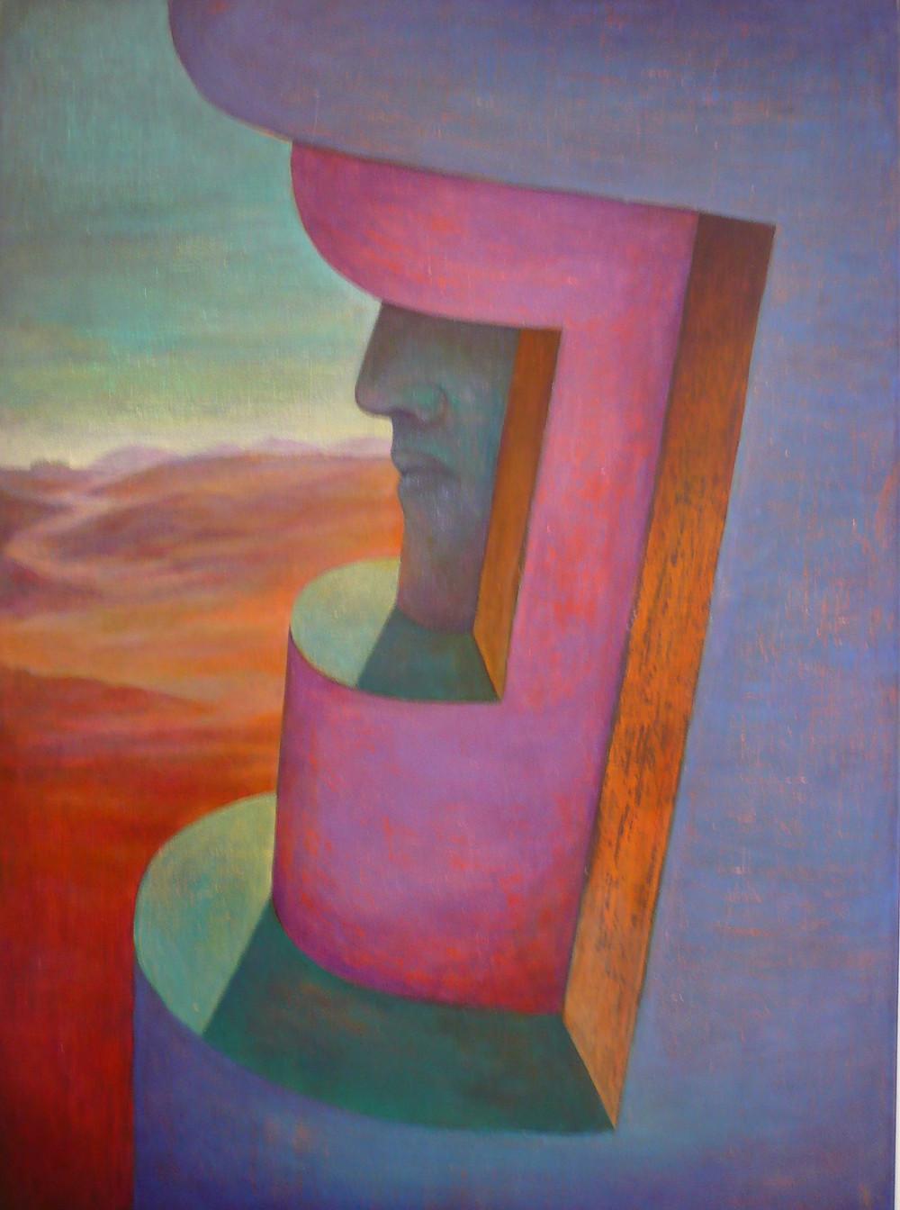 Szurcsik József: Az őrködő, 2007-08. Akril, olaj, vászon, 100x80 cm