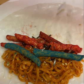 Takis, Hot Cheetos, and Spicy Noodles wrapped in rice paper