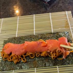 Testing out ramen smoked salmon sushi