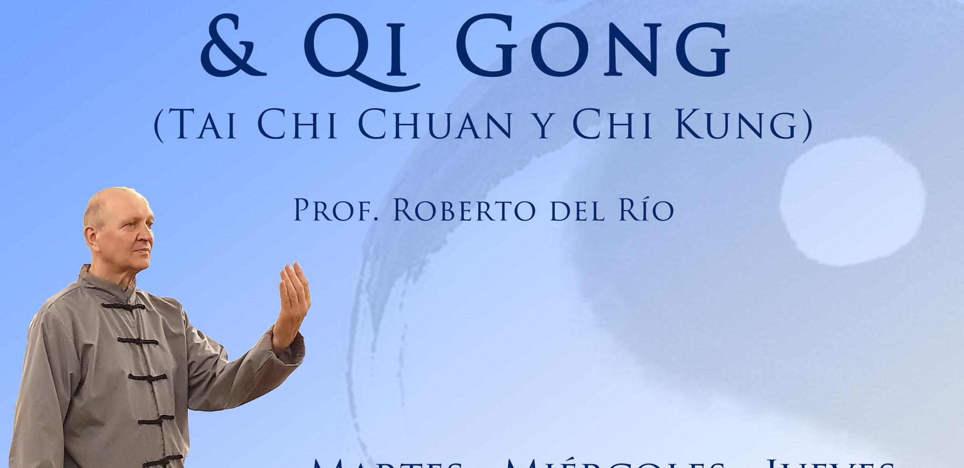 """Taijiquan o Tai Chi Chuan  Lo practicamos como un arte marcial interno, similar a lo enunciado respecto del Qigong.  Si bien las """"formas"""" que practicamos son las del estilo Yang Marcial (6 seis-10 diez-16 dieciséis- 24 veinticuatro) el objetivo es elevar la salud desde un lugar de más concentración. (meditando en movimiento) Procuramos realizar una práctica sin exigencia ni competencia, solo con gusto y  saludable armonía. Qigong o Chi Kung  Traducido al castellano significa energía trabajo. Precisamente eso de trabajar, mediante técnicas milenarias, con el fluir de la energía, aumenta la salud individual. Es indicado para todos, ya que si bien se trata de una práctica colectiva, cada uno la realiza a su ritmo y dentro de sus posibilidades. La práctica continua y habitual ayuda con la circulación de energía, permitiendo calmar el exceso y energizar la falta. Todos los practicantes, jóvenes o mayores, mujeres u hombres, con físicos pequeños o grandes, pueden practicarlo (salvo los no indicados expresamente por profesionales de la salud) y beneficiarse con una notoria mejoría en su salud física, mental y emocional."""