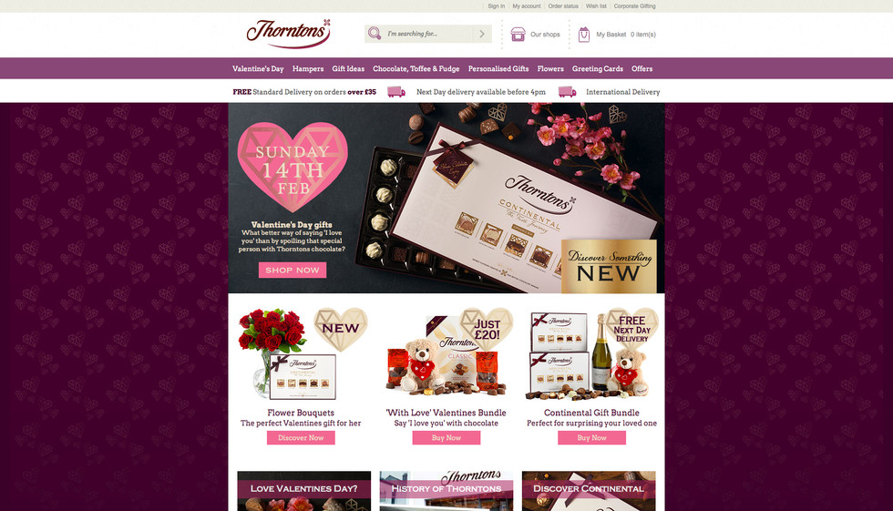 Thorntons Valentines Day homepage