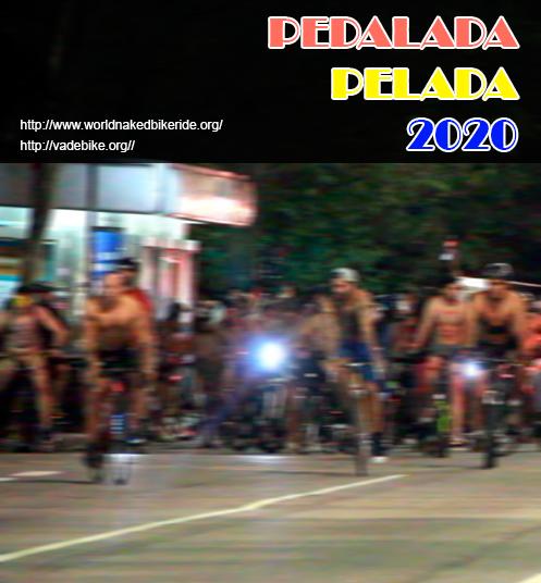 A imagem mostra desfocadamente alguns ciclistas que participaram da Pedalada Pelada de 2019.