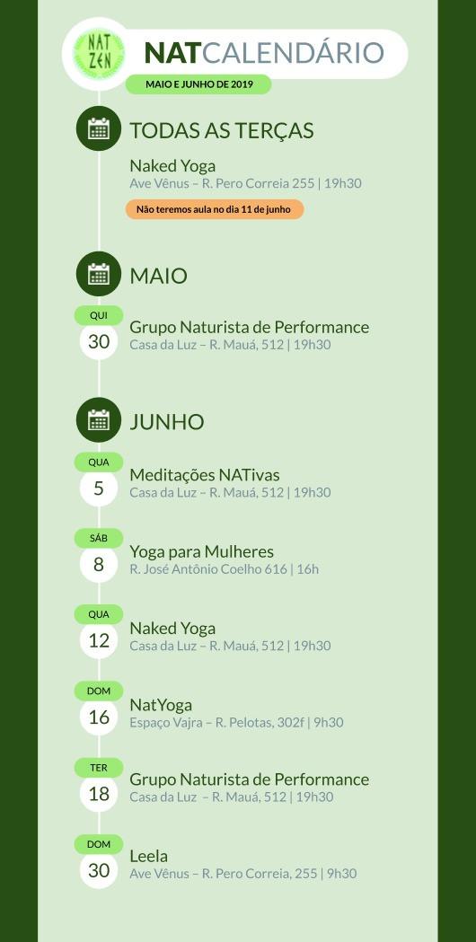 imagem do calendario de atividades NatZen para junho de 2019. Descrição na sequência: