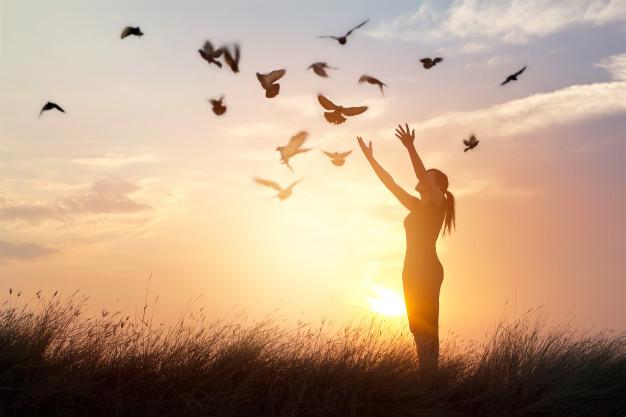 Imagem da silhueta de uma mulher nua em frente ao pôr do sol, de braços abertos para o ar, deixando pássaros voarem. libertando-os;