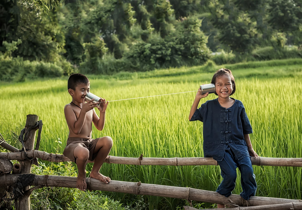 Rural children communicate with the phon