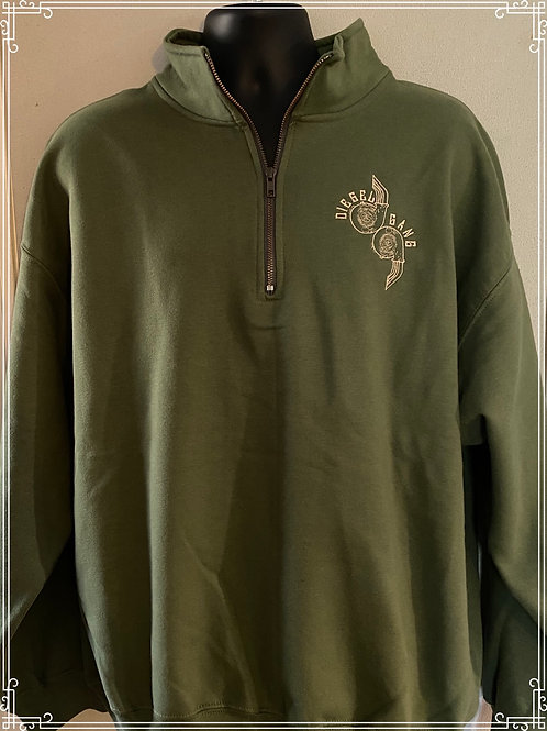 Military Green Embroidered Fleece Lined Sweat Shirt
