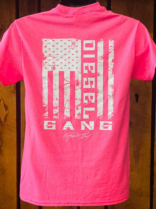 Pink Diesel Gang Flag T-shirt