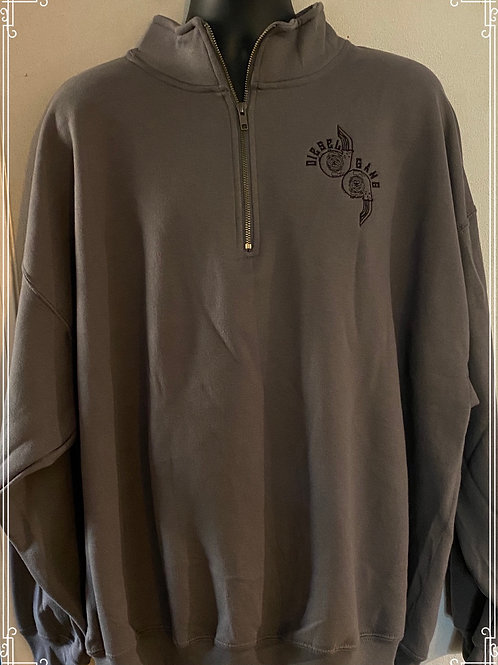 Grey Embroidered Fleece Lined Half Zip Sweat Shirt