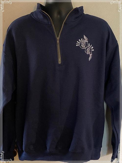 Navy Embroidered Half Zip Fleece Lined Sweat Shirt