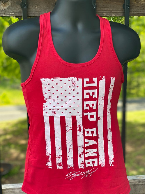 Women's Red Racerback Jeep Gang Tanks