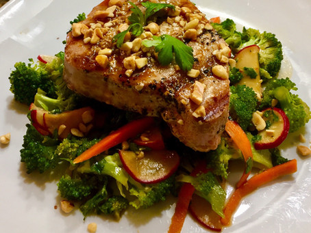 Grilled Tuna with Broccoli Ginger Slaw