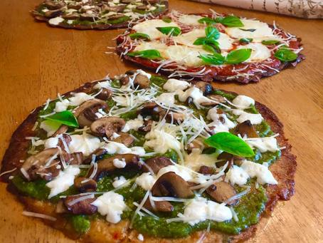 Gluten Free Cauliflower Crust Pizzas!  Mushroom and Pesto, and Classic Margherita!