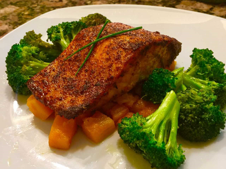 Blackened Salmon with Butternut Squash and Broccoli