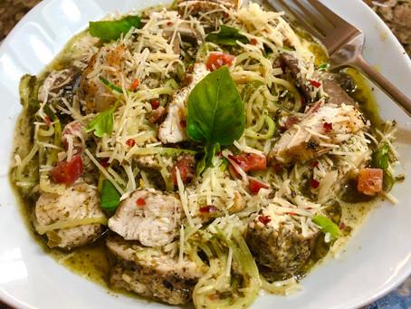 Zucchini Pesto with Grilled Chicken