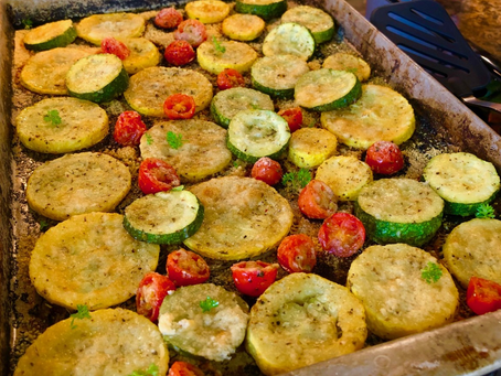 Garlic Parmesan Roasted Squash and Tomatoes