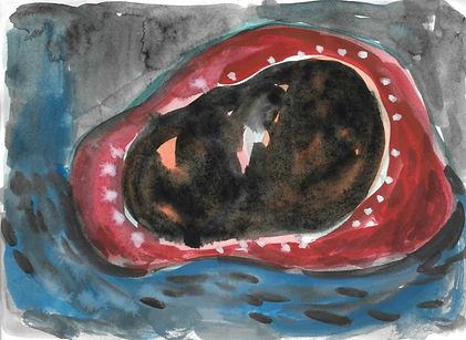 达摩的石头 12.5x17cm watercolour on paper 201