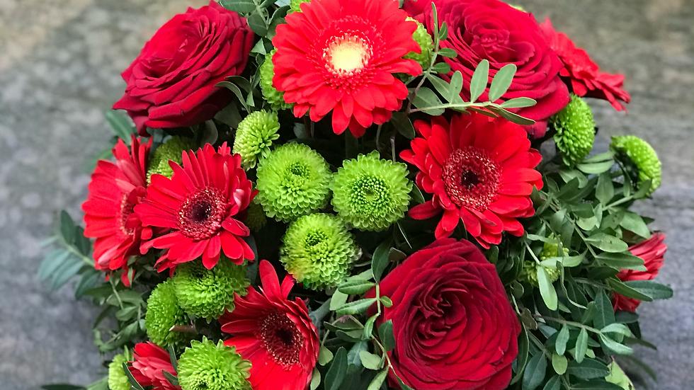 Florist Choice Posy Red & White Gerb