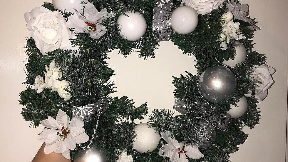 White Deluxe Door Wreath