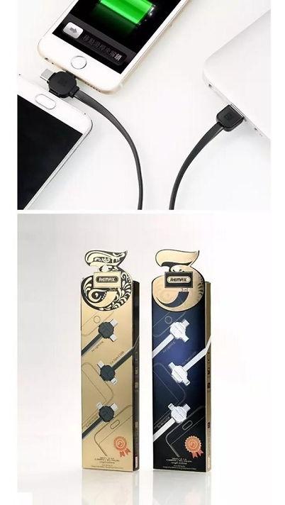 Cod: DCRRC066TH Largo: 1Mt Cable Plano Corriente de Salida: 2.1 AMP Iphone /Micro USB/ Type C Colores: Blanco / Negro