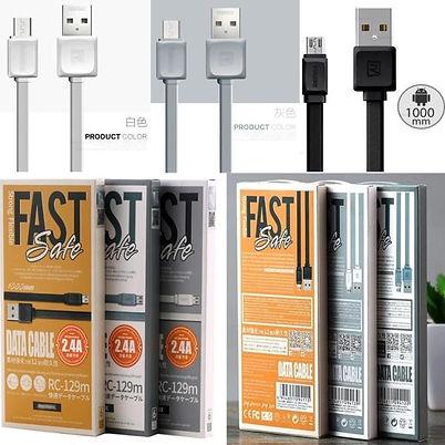 Cod: DCRRC129 Largo: 1Mt Cable Plano Corriente de Salida: 2.4 AMP Iphone / Micro USB Colores: Blanco / Negro