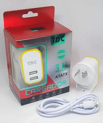 Cod: CVUNIV2C3.1 2 USB Potencia 3.1AMP Cable de 1Mt TIPO C Seguridad Eléctrica
