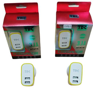 Cod: CVUNIV2C3.1 2 USB Potencia 3.1AMP Cable de 1Mt MICRO / TIPO C Seguridad Eléctrica