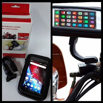 Cod: HOLMOTO63 Funda y soporte p-GPS o celular  Agarre al espejo de la moto Touchscreem  e Impermeable  Rotacion 360°. IMPRESCINDIBLE p-andar Colores: Negro