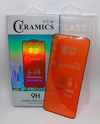 Cod: FILMCER Tecnología de refuerzo físico cerámico p/membranas de vidrio templado con bordes rotos. Calidad Premium 3D Cobertura Total 9H Diseño Integrado Anti Impacto Para Samsung S20 y S20 Plus Color: Negro