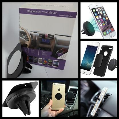 Cod: HOLAUCT022  Imantado/Fácil instalación  Sirve p-cualquier celular.  También Iphone     Rotación 360°. IDEAL p-VIAJES Agarre firme a la ventilación Colores: Negro