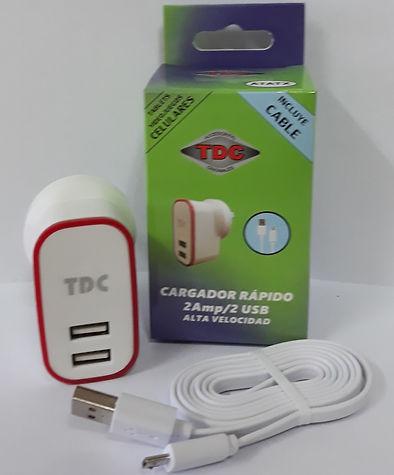 Cod: CVUNIV2C 2 USB Potencia 2AMP (1AMP en cada USB) Cable de 1Mt Micro Usb Seguridad Eléctrica