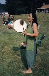 Wind Drumming in Green Dress.JPG